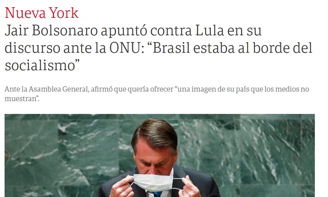 Jornal argentino Clarín destacou que Bolsonaro se dirigiu a Lula ao mencionar que 'Brasil estava à beira do socialismo' Foto: Reprodução