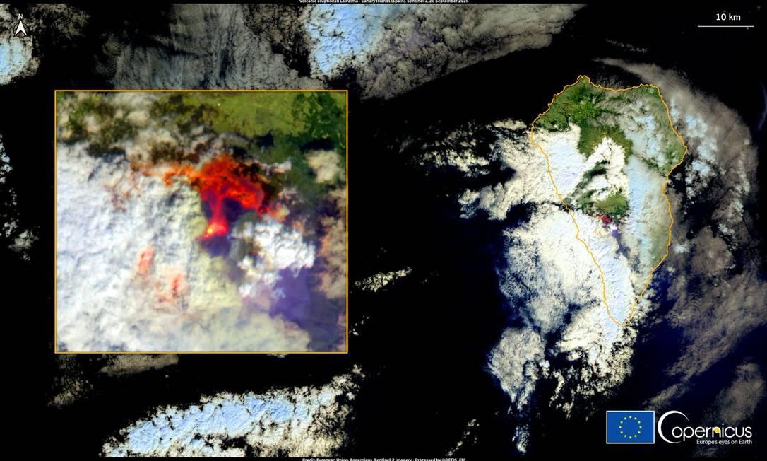 Sistema de satélites da União Europeia registrou o momento em que o vulcão entra em erupção. Foto: Sistema de satélites Copérnico / União Europeia
