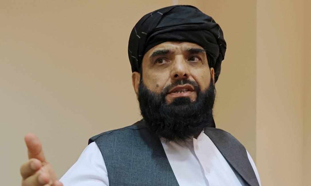 Porta-voz do Talibã, Suhail Shaheen, deixa entrevista coletiva em Moscou, Rússia Foto: TATYANA MAKEYEVA / REUTERS/09-07-2021