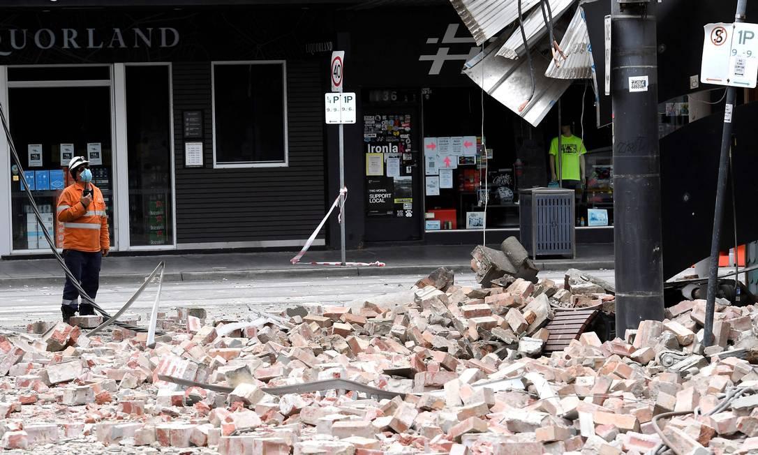 Terremoto em Melbourne atingiu destruiu parte de construções Foto: WILLIAM WEST / AFP