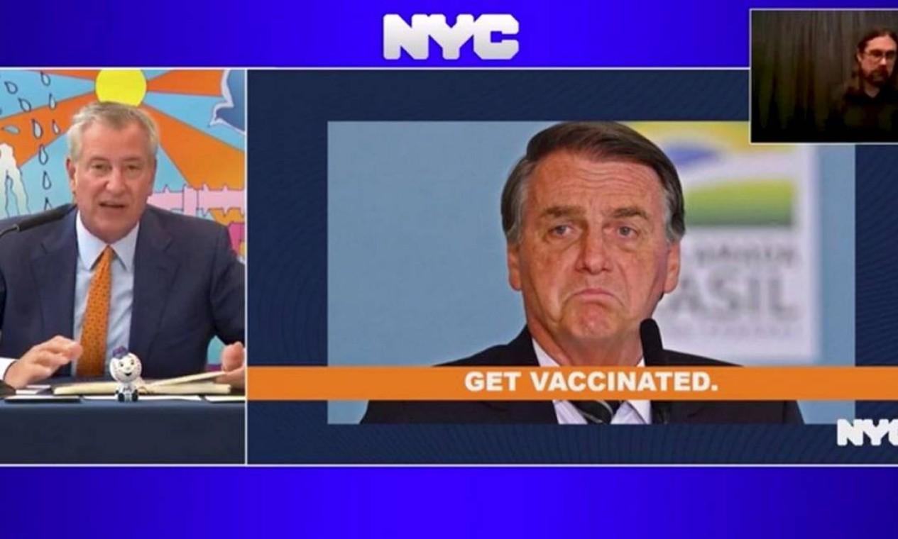 """A não vacinação de Bolsonaro virou pauta, e o prefeito de Nova York, Bill de Blasio, direcionou comunicado a Bolsonaro e a outros líderes mundiais: """"Se não quer se vacinar,não se dê ao trabalho de vir"""" Foto: Agência O Globo - 20/09/2021"""