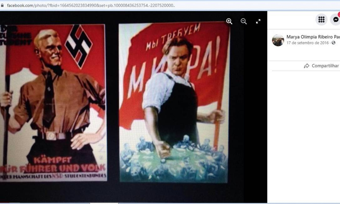 Propaganda nazista em postagem da promotora Marya Olímpia Ribeiro Pacheco Foto: Reprodução
