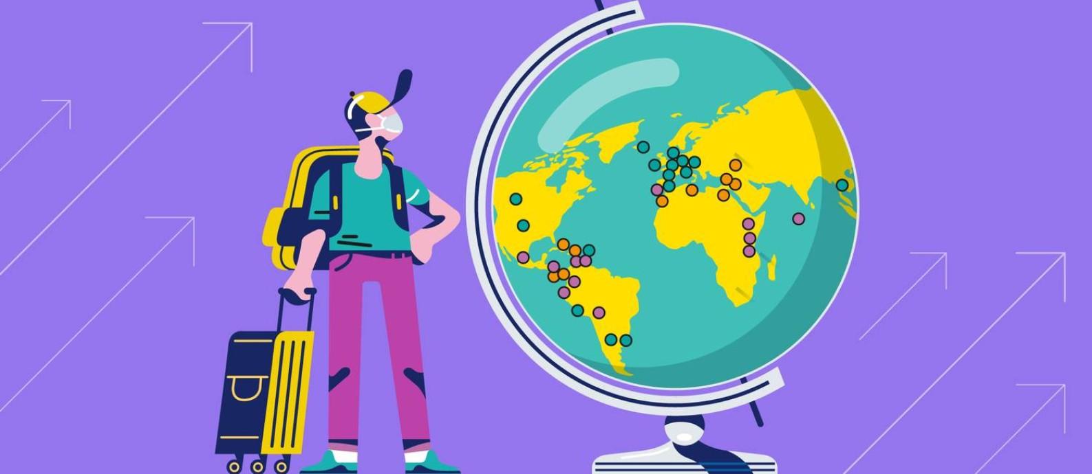 Com o avanço da vacinação no Brasil e no mundo, cada vez mais países têm aberto ou anunciado a reabertura de suas fronteiras para viajantes internacionais Foto: Felipe Nadaes / Editoria de Arte / O Globo