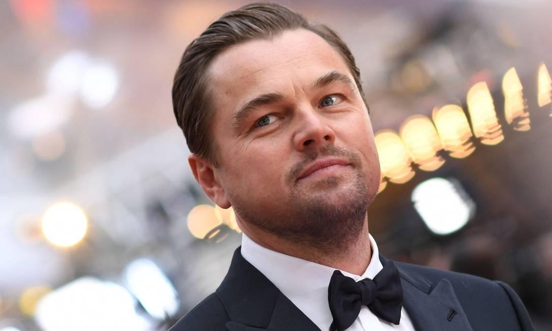 O ator Leonardo DiCaprio no tapete vermelho do Oscar, em 2020: engajado em causas ambientais Foto: VALERIE MACON / AFP