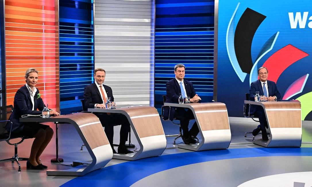 Principais candidatos à chanceler da Alemanha participam do último debate televisionado antes das eleições, em Berlim Foto: TOBIAS SCHWARZ / AFP/23-09-2021
