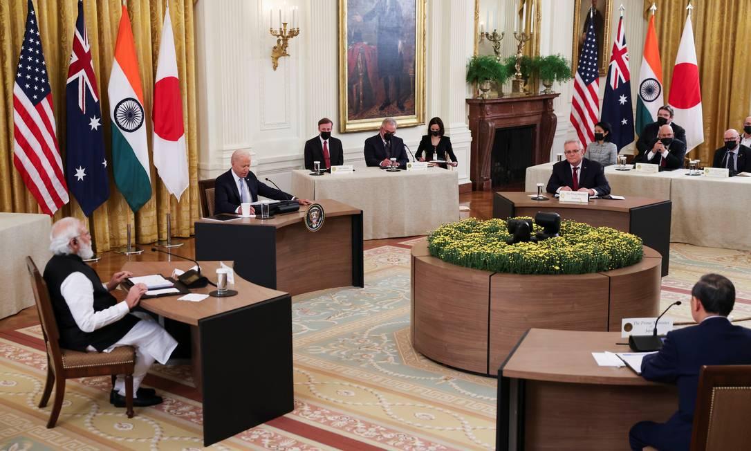 Reunião de líderes do Quarteto, formado por EUA, Japão, Índia e Austrália, na Casa Branca Foto: EVELYN HOCKSTEIN / REUTERS