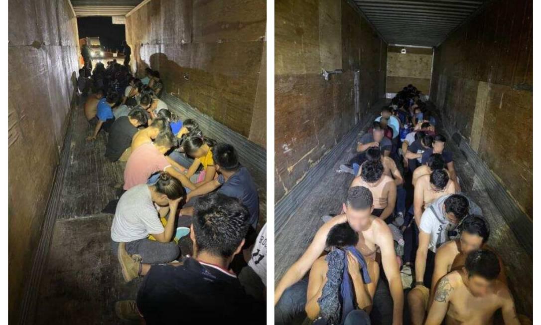 Caminhão com 49 imigrantes ilegais foi interceptado no Texas Foto: Divulgação