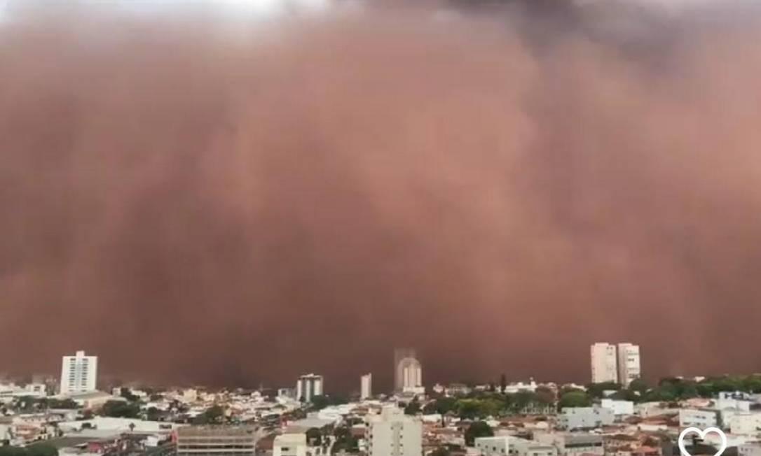 Tempestade de areia em Franca, no interior de São Paulo Foto: Reprodução