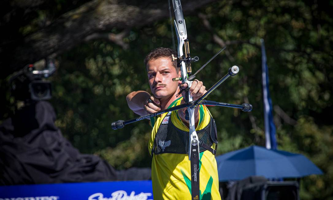Mrcus D'Almeira durante o mundial de tiro com arco, nos EUA Foto: Reprodução/World Archery