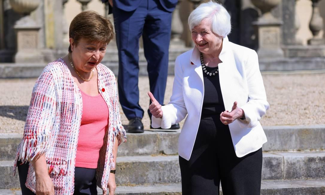 Janet Yellen e Kristalina Georgieva demonstraram afinidade no encontro de ministros de finanças do G7 em Londres, em junho deste ano Foto: Hollie Adams / Bloomberg
