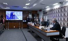 Advogada Bruna Morato, que representa 12 médicos que trabalharam na Prevent Senior, presta depoimento na CPI da Covid Foto: Agência Senado