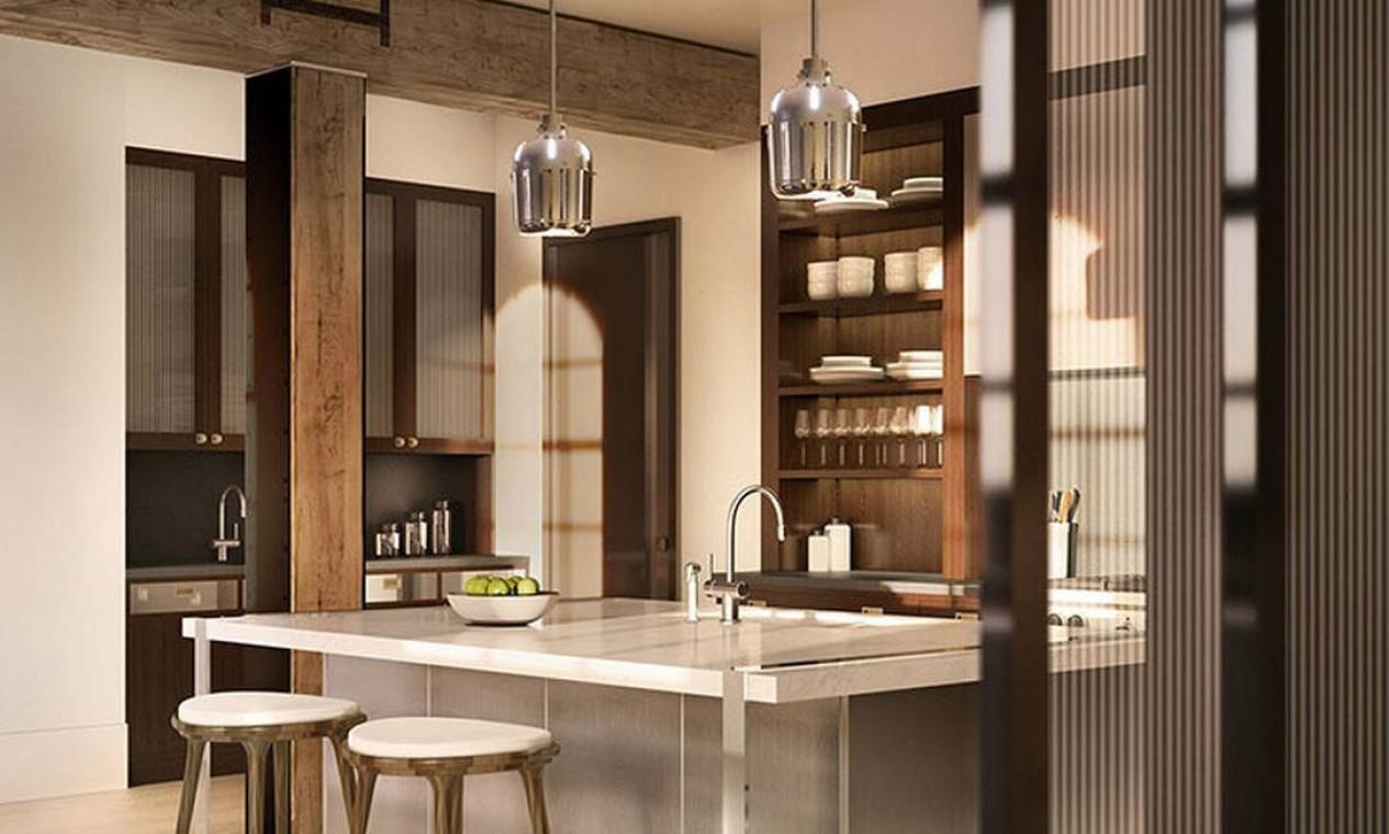 Ilha central da cozinha Foto: Reprodução