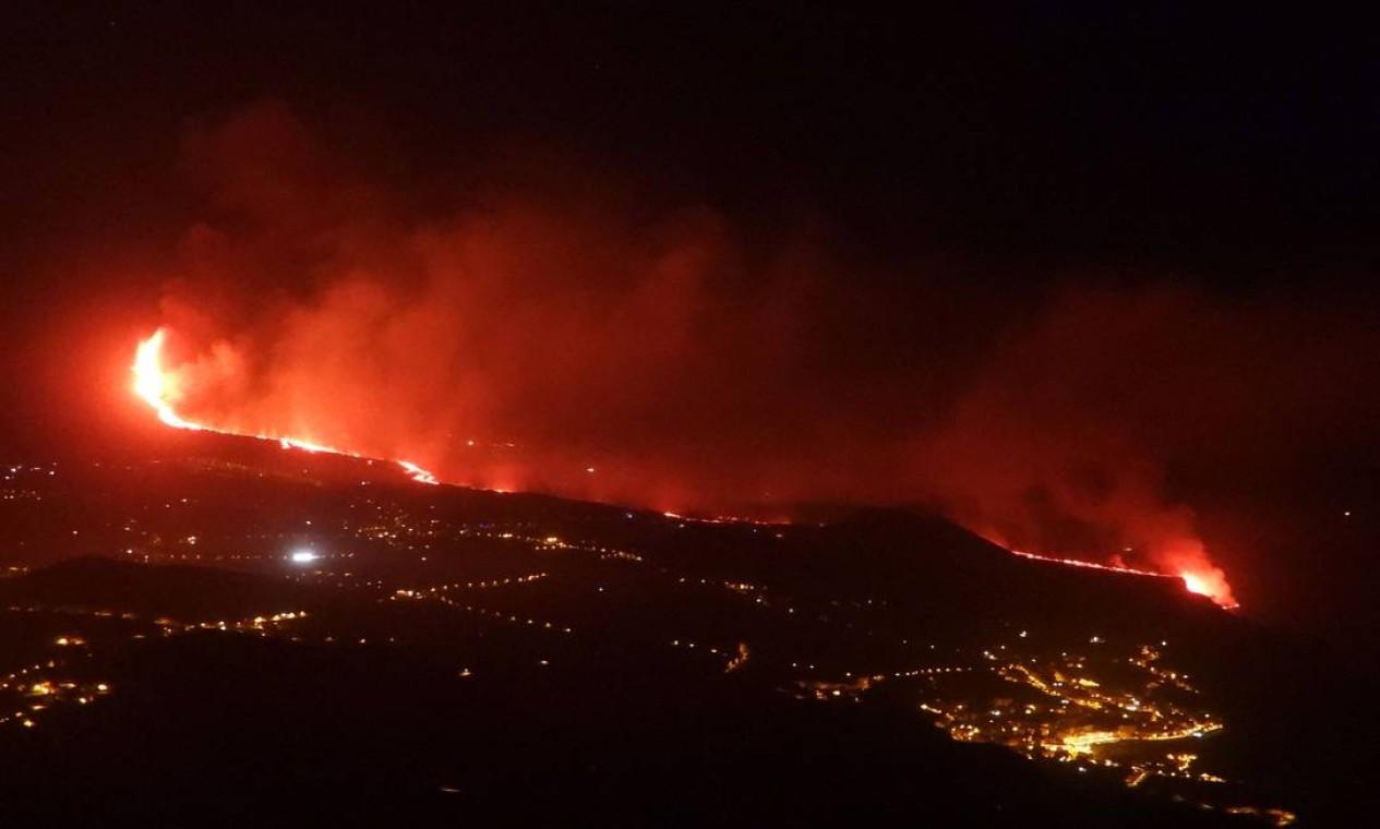 A superfície coberta pelo magma abrange uma área de 267,5 hectares Foto: SUNSETS SWEDEN / AFP