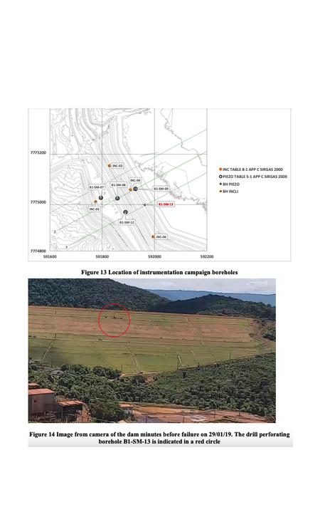 Relatório mostra local onde furo que teria causado colapso foi feito Foto: MPF / Reprodução