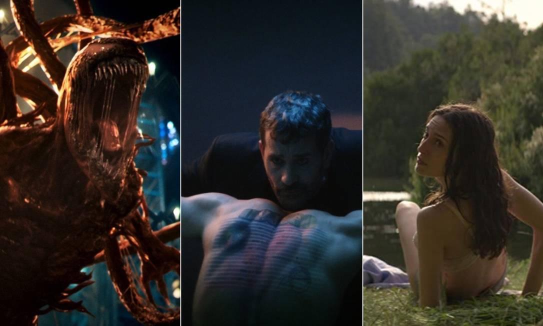 'Venom: tempo de carnificina', 'O homem que vendeu sua pele' e 'O fio invisível'. Foto: Montagem com fotos de divulgação