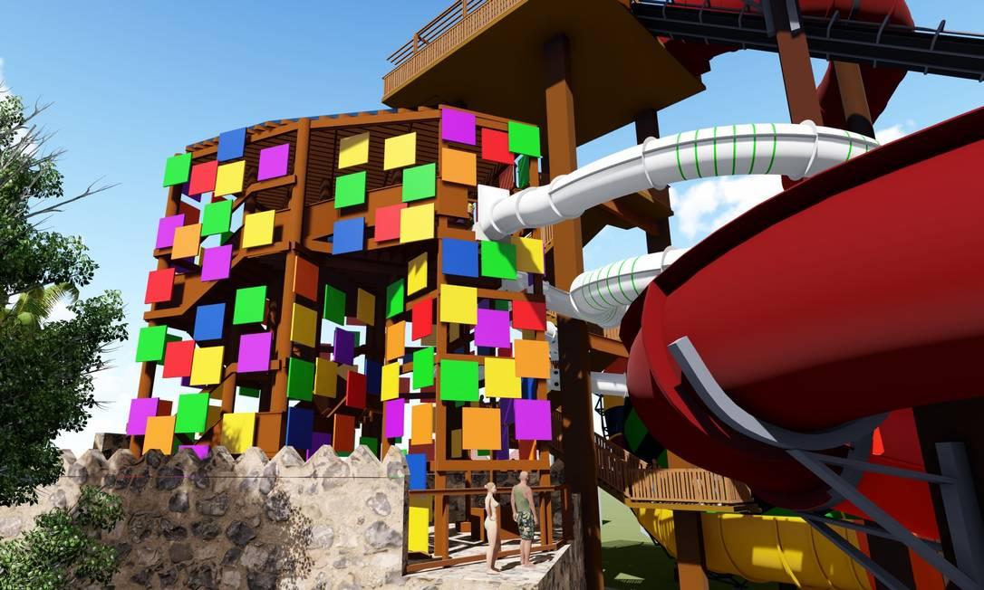 Arte mostra como será a entrada para a torre do Tobomusik, novo toboágua com trilha sonora feita por DJ Alok que o Beach Park vai inaugurar em dezembro Foto: Divulgação