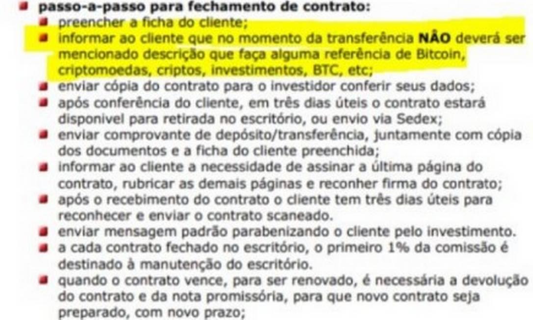 Orientação da GAS para clientes não mencionarem investimentos em bitcoins Foto: Reprodução