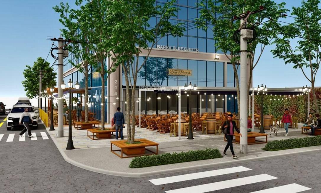 Projeto de como ficará o bar Boa Praça da Barra Foto: Divulgação