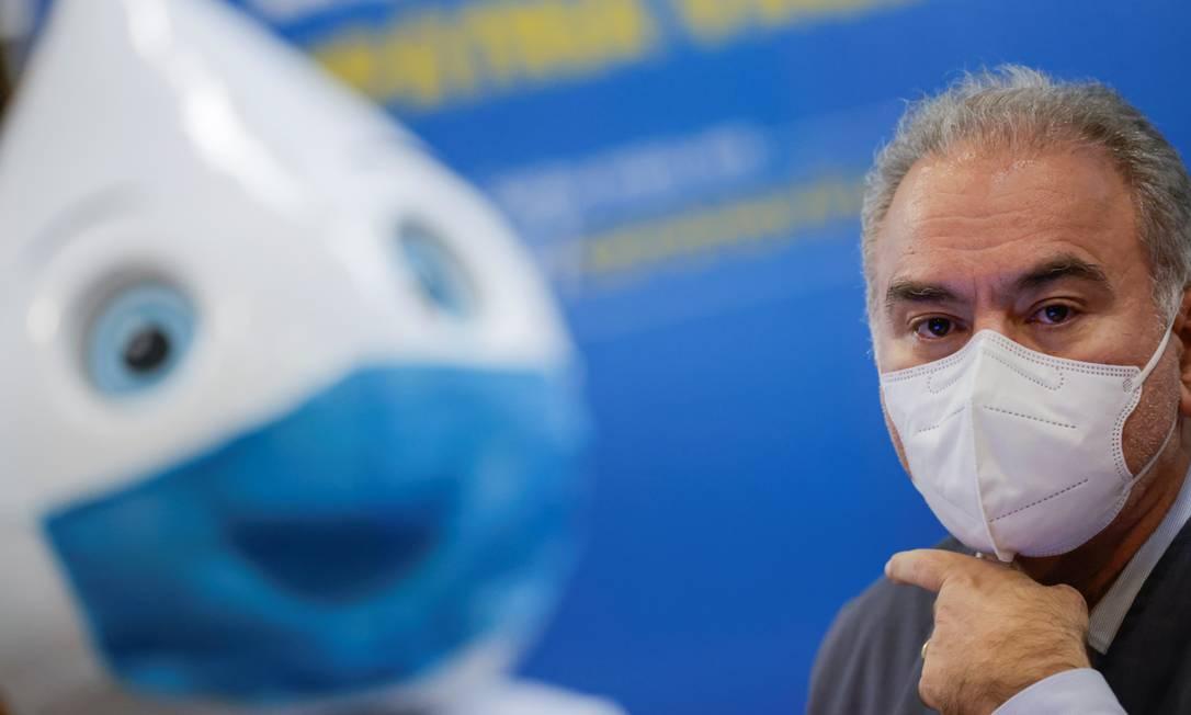 O ministro da Saúde, Marcelo Queiroga, durante entrevista coletiva Foto: Ueslei Marcelino/Reuters