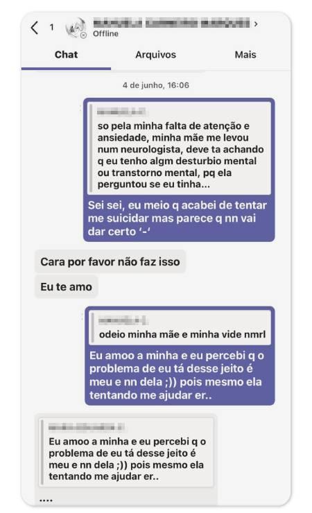 Troca de mensagens de adolescente de 13 anos, a primeira a denunciar Marcos Vitor, com amiga Foto: Arquivo pessoal