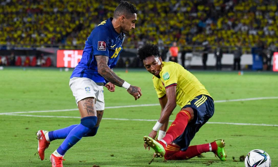 Raphinha entrou bem nas partidas do Brasil contra Venezuela e Colômbia Foto: JUAN BARRETO / AFP