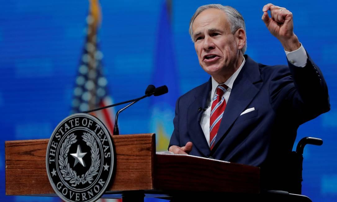 Governador do Texas, Greg Abbott, durante discurso na Associação Nacional do Rifle, em 2018 Foto: Lucas Jackson / REUTERS