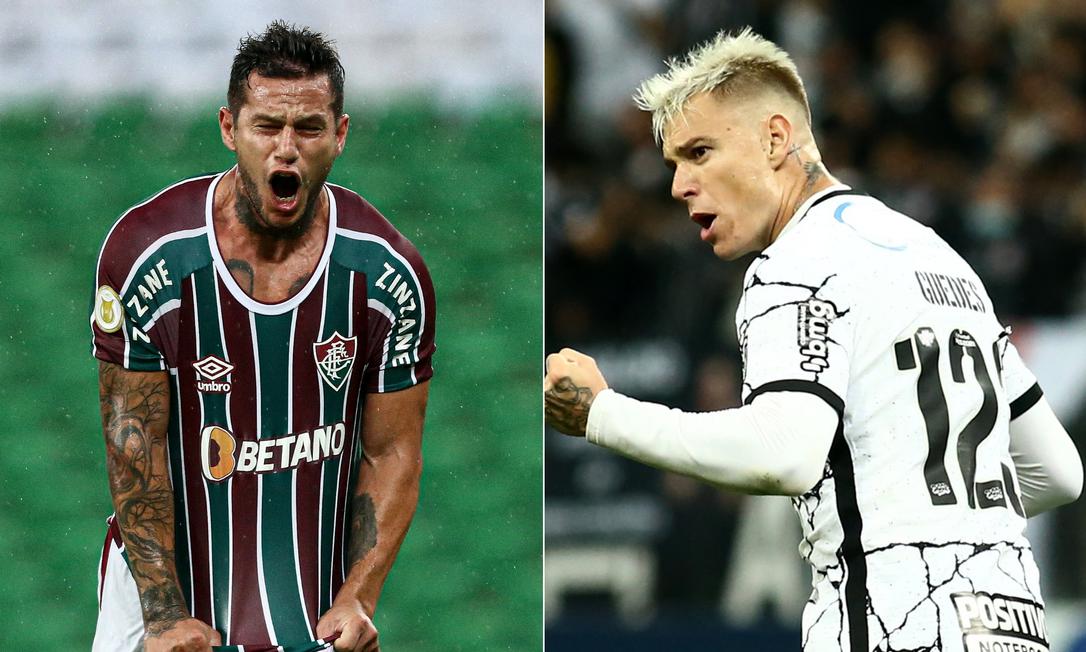 Bobadilla e Roger Guedes conduzem os ataques do duelo na Neo Química Arena Foto: Montagem com fotos de Fluminense e Reuters