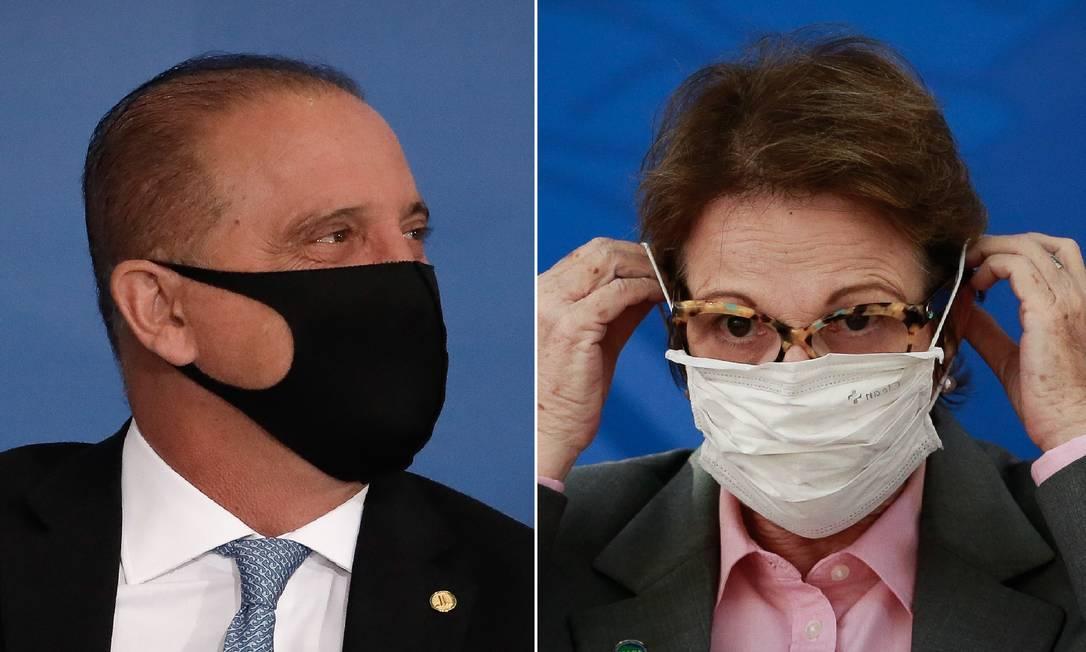 Os ministros Onyx Lorenzoni e Tereza Cristina: planos de deixar o novo partido União Brasil Foto: Montagem com fotos de Pablo Jacob / Agência O Globo