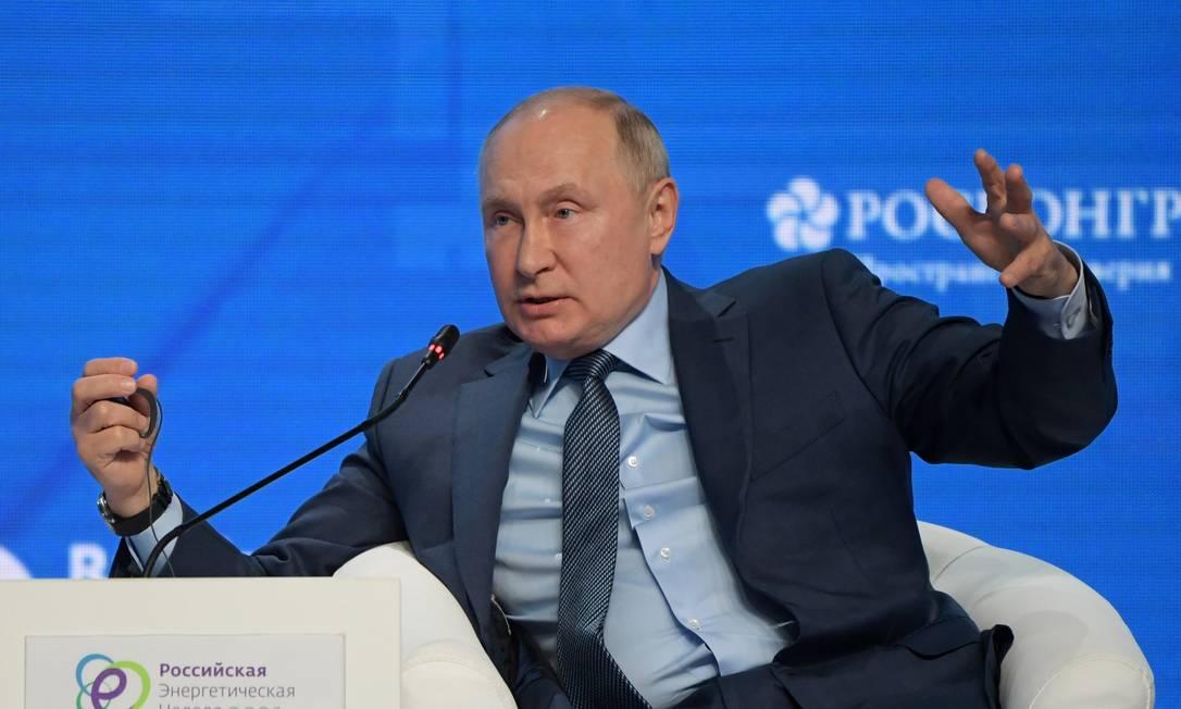 Vladimir Putin durante fórum de energia em Moscou Foto: SPUTNIK / via REUTERS