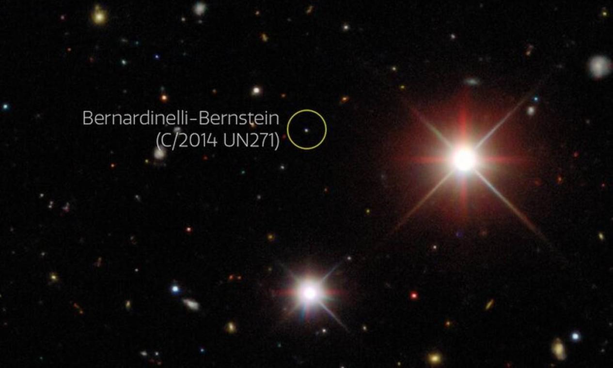 Imagem obtida pelo projeto Dark Energy Survey (DES) mostra o cometa em outubro de 2017, a 25 unidades astronômicas do Sol Foto: Dark Energy Survey/DOE/FNAL/DECa