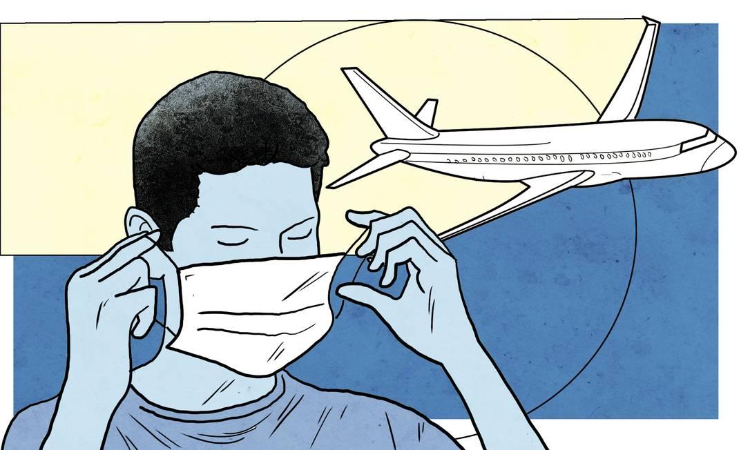 Estudos mostram que o risco de transmissão do vírus ao fazer uma viagem de avião é maior durante o embarque e o desembarque do que quando a aeronave está no ar. Foto: André Mello / O Globo