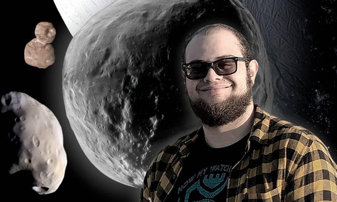 Pedro Bernardinelli, de 27 anos, descobriu o maior cometa já identificado Foto: Arte O Globo/ Arquivo pessoal/ Ilustração Will Gater