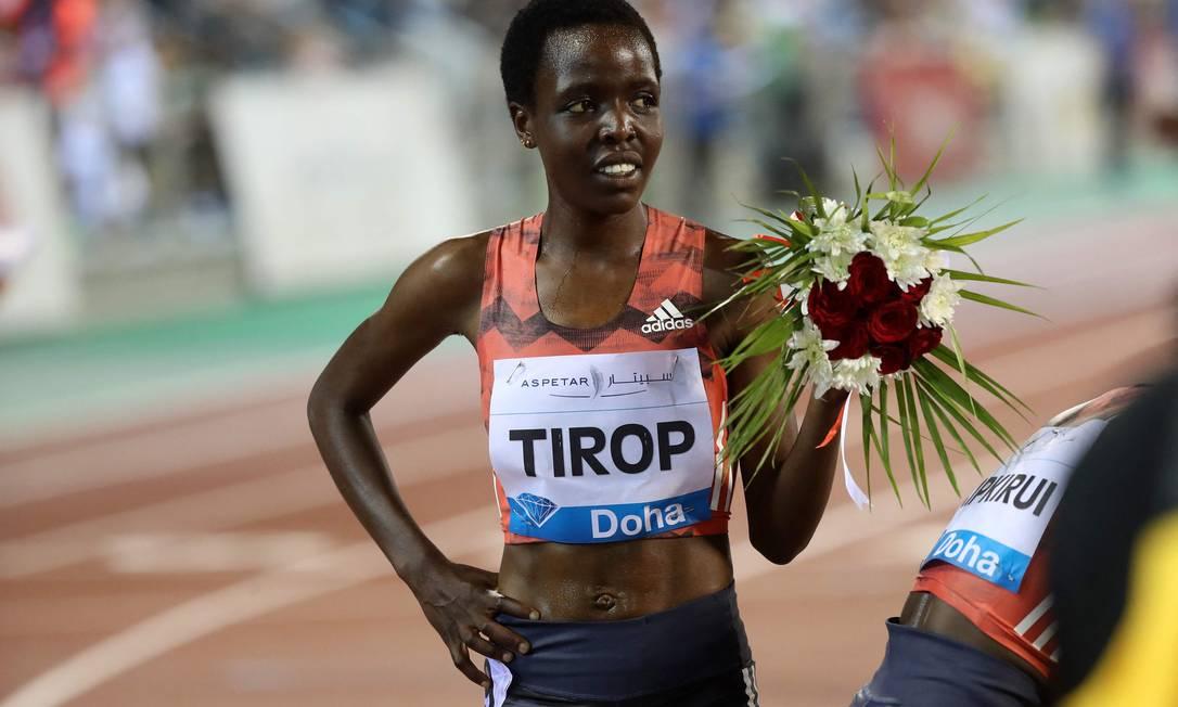 Corredora olímpica Agnes Jebet Tirop foi encontrada morta com uma facada Foto: KARIM JAAFAR / AFP