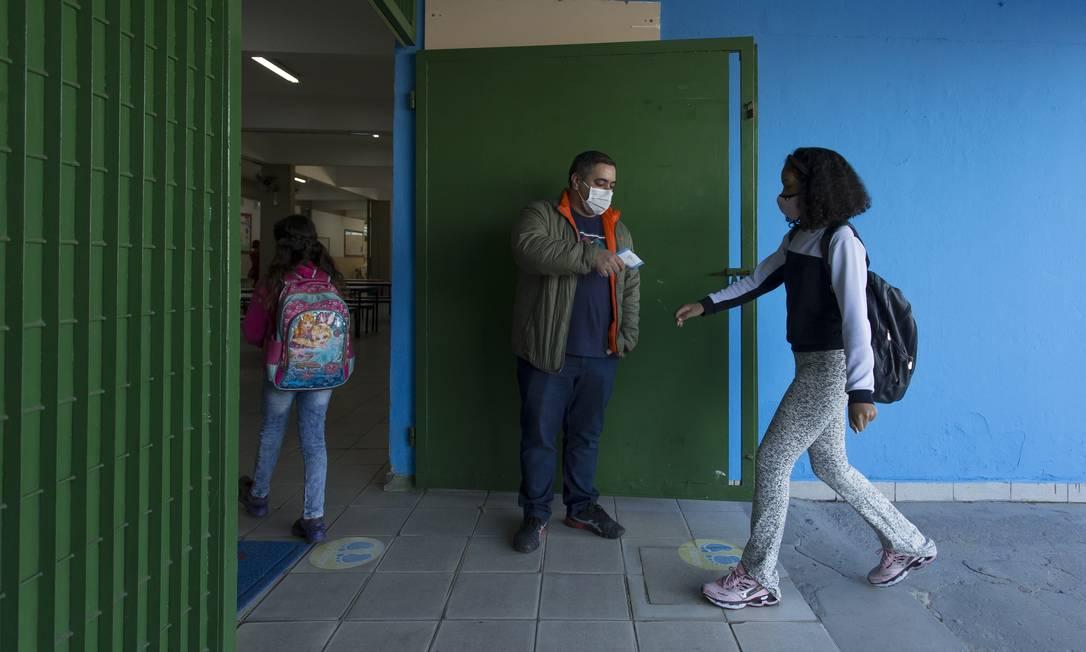 Protocolos de segurança contra a Covid-19 da Escola Estadual Dom Agnelo Cardeal Rossi, extremo sul de São Paulo Foto: Edilson Dantas / Agência O Globo