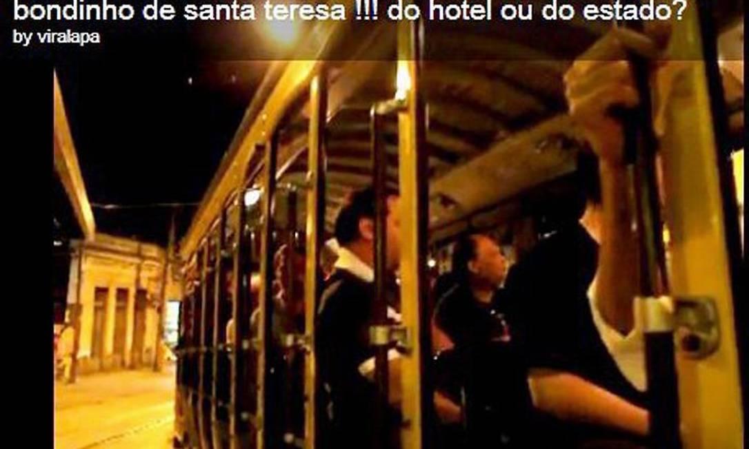 Reprodução do vídeo que mostra um suposto bonde exclusivo para hóspedes de hotel em Santa Teresa