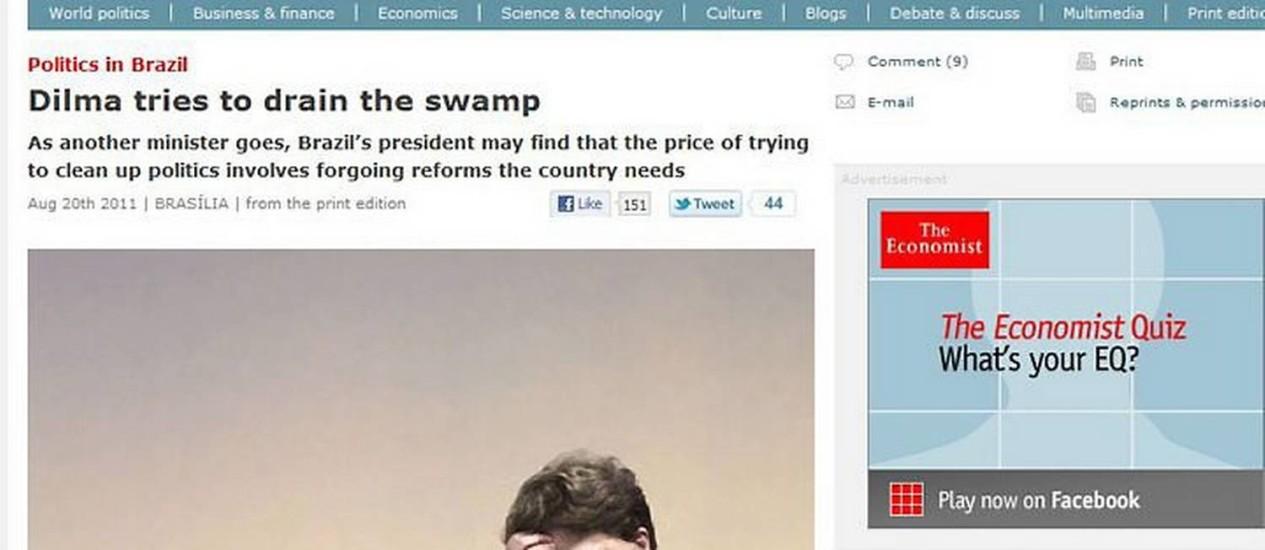 Reprodução da reportagem da The Economist na internet