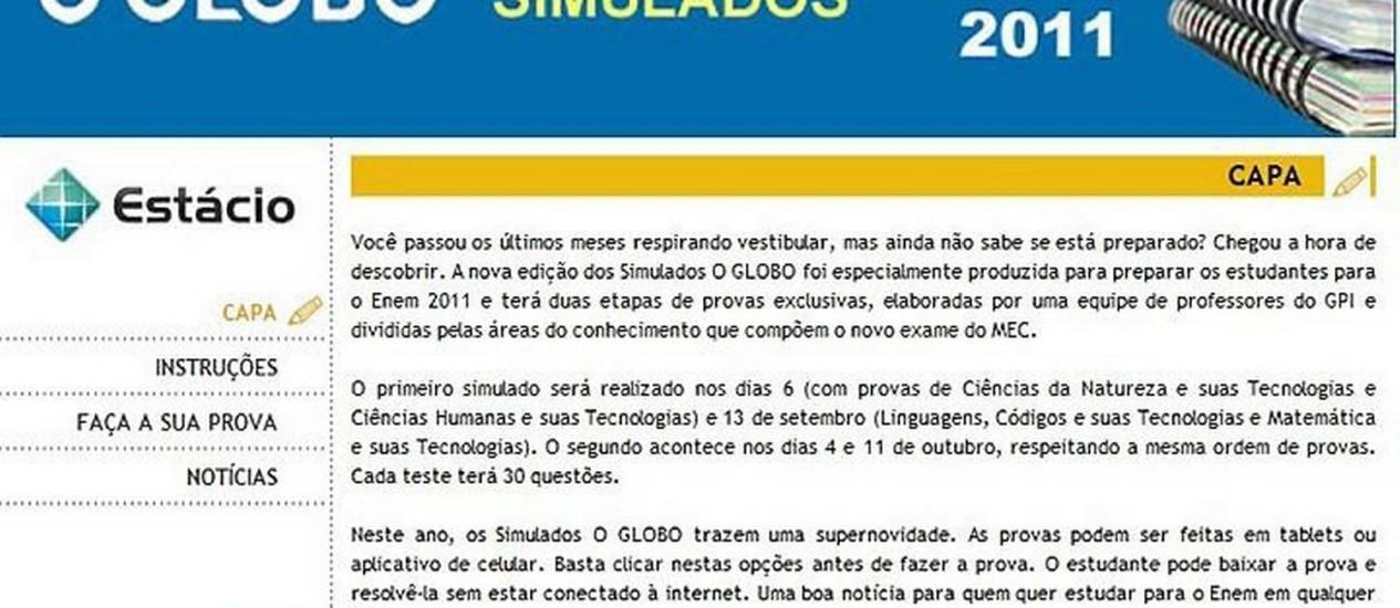 Simulados O GLOBO Enem 2011, exclusivo no nosso site Reprodução