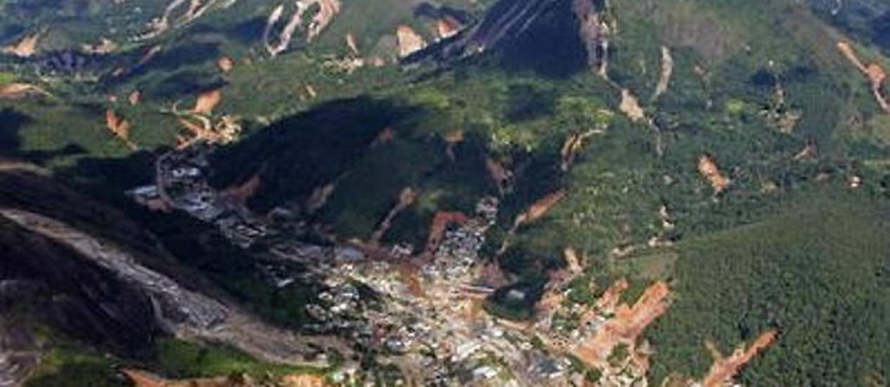 Vista aérea de parte da RegiãoSerrana do Rio atingida pelas chuvas de janeiroFoto de Custódio Coimbra