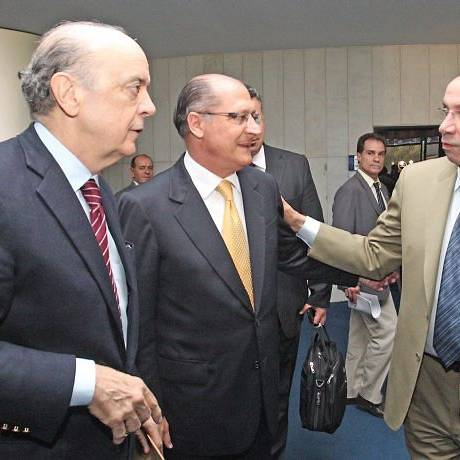Os tucanos José Serra, Geraldo Alckmin e Aloysio Nunes na reunião do Conselho Político do PSDBFoto de André Coelho