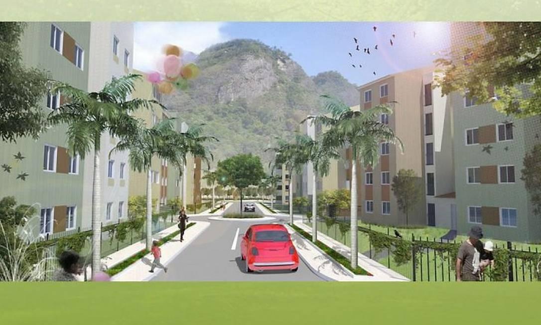 O projeto do condomínio para onde a prefeitura pretende transferir os moradores da Vila Autódromo (Foto: Reprodução)