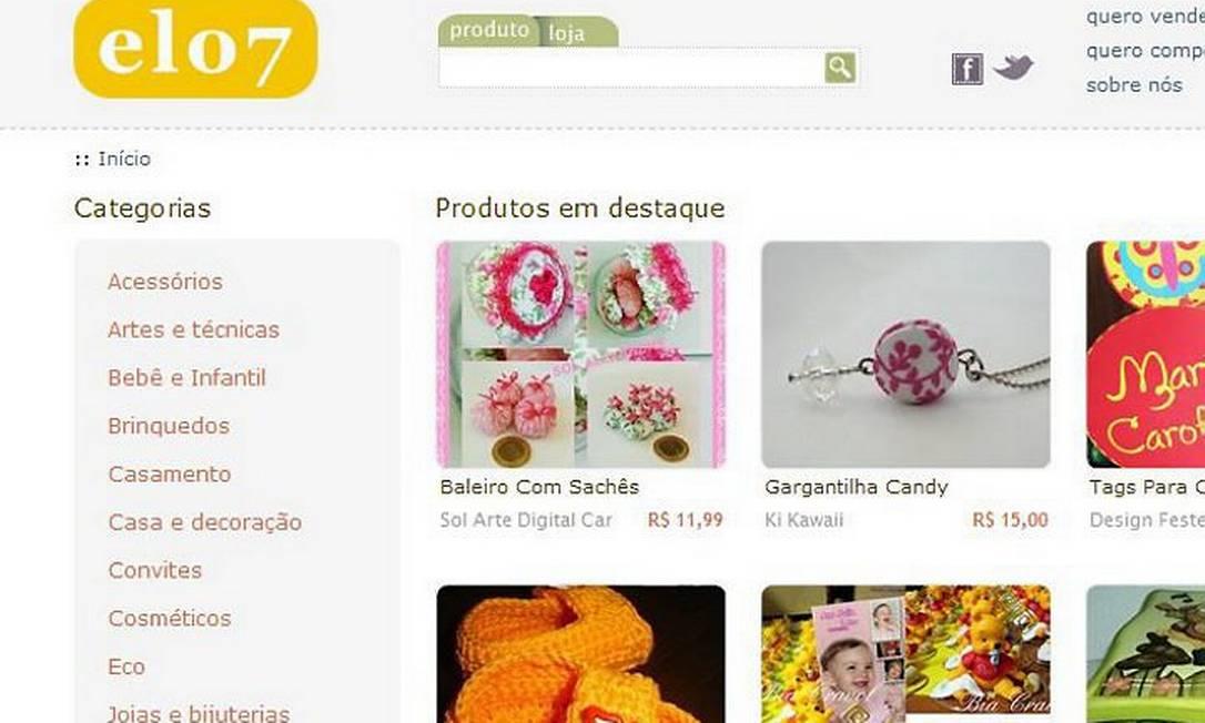Reprodução de tela do site Elo7 Foto: Reprodução