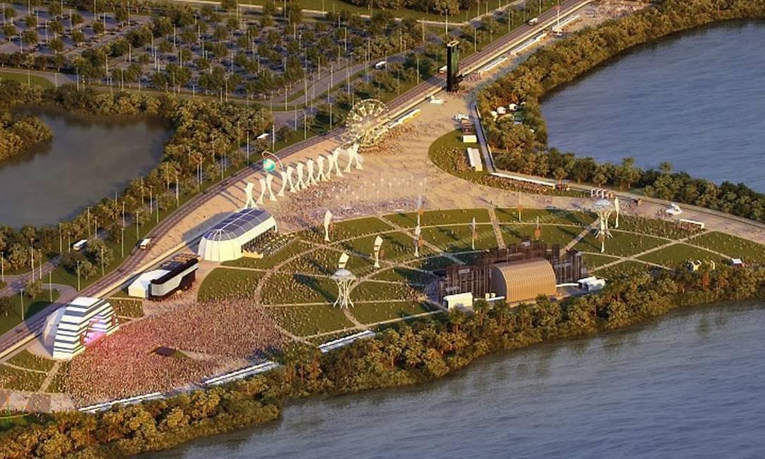 Projeto da Cidade do Rock, que vai receber também área de lazer de atletas durante as olimpíadas de 2016 Foto: Divulgação