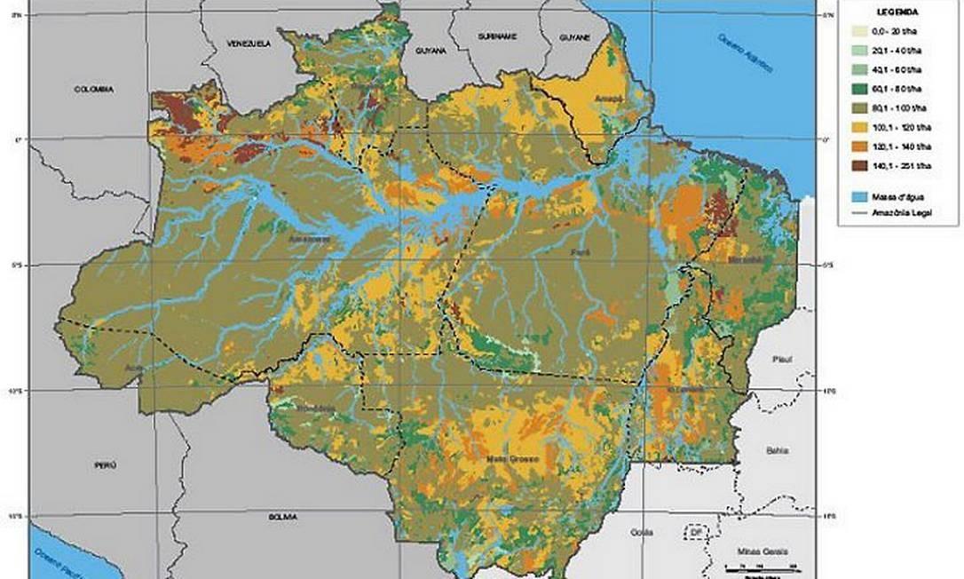 s Faixas de concentração de carbono em até um metro de profundidade do solo na Amazônia Legal Divulgação