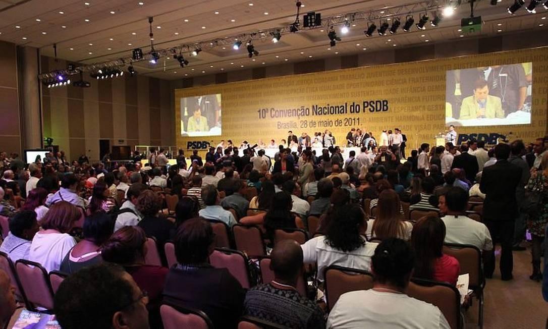 A convenção nacional do PSDB, em Brasília. Foto de André CoelhoAgência O Globo.
