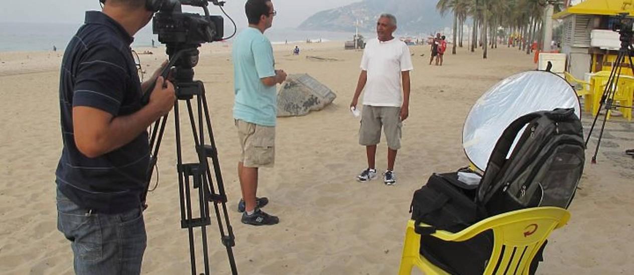 Bastidores das filmagens do documentário sobre Tim Lopes Foto: Divulgação