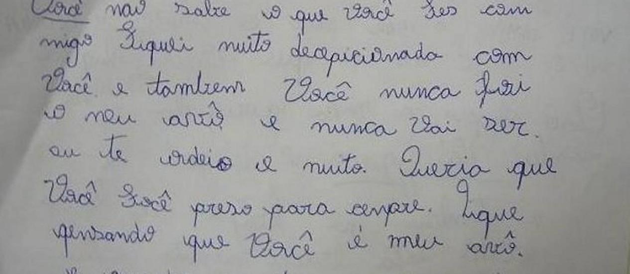 Carta escrita pela menina descoberta pela polícia durante as investigações - ReproduçãoTV Tem