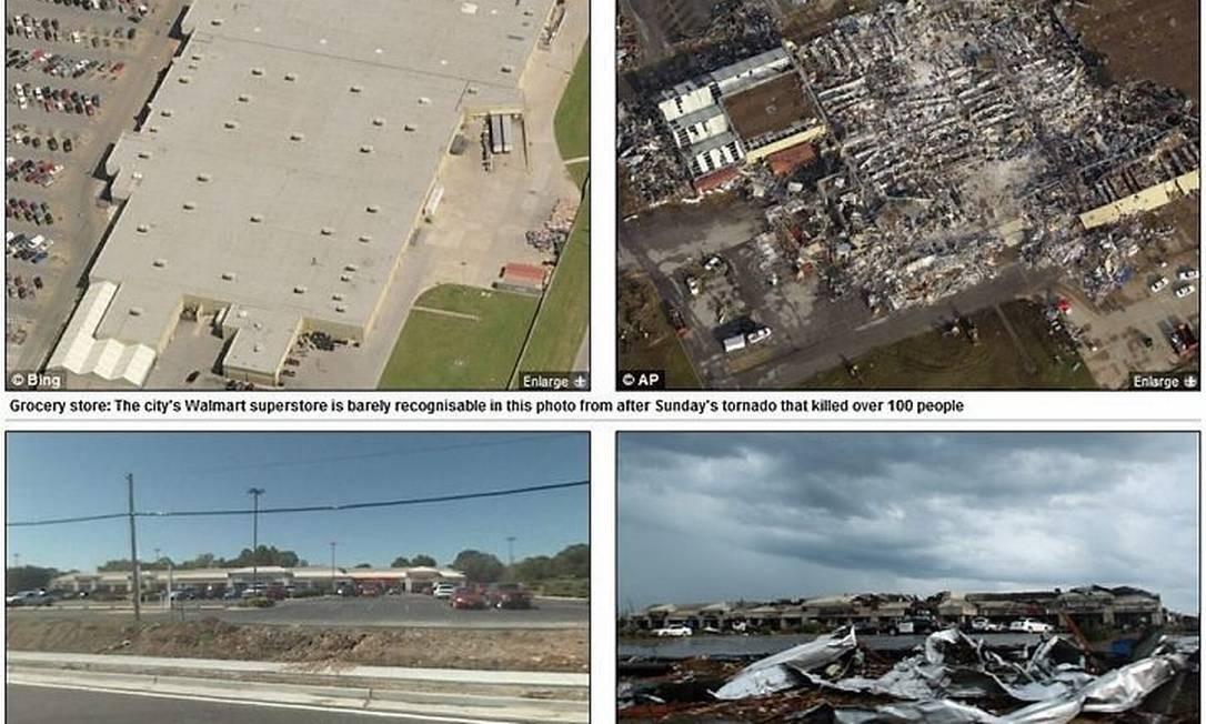 Imagens mostram cidade de Joplin, em Missouri, antes e depois do tornado.