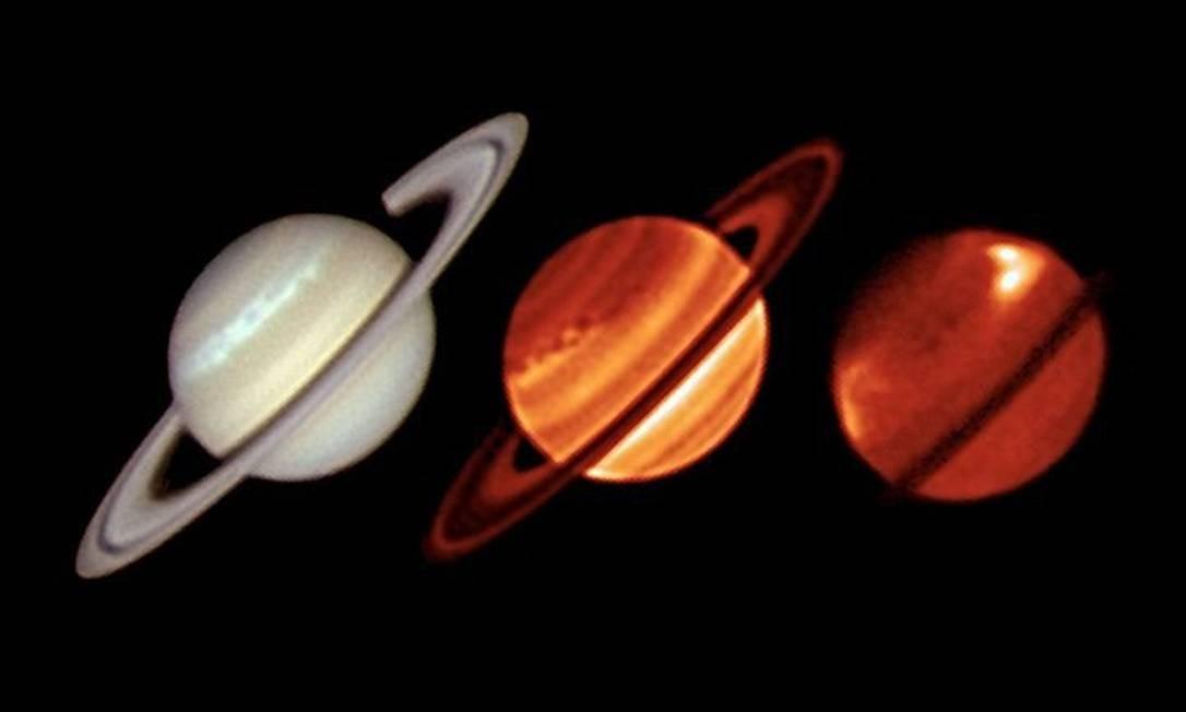 As imagens da tempestade em Saturno, estudada com infravermelho. Foto: Nasa