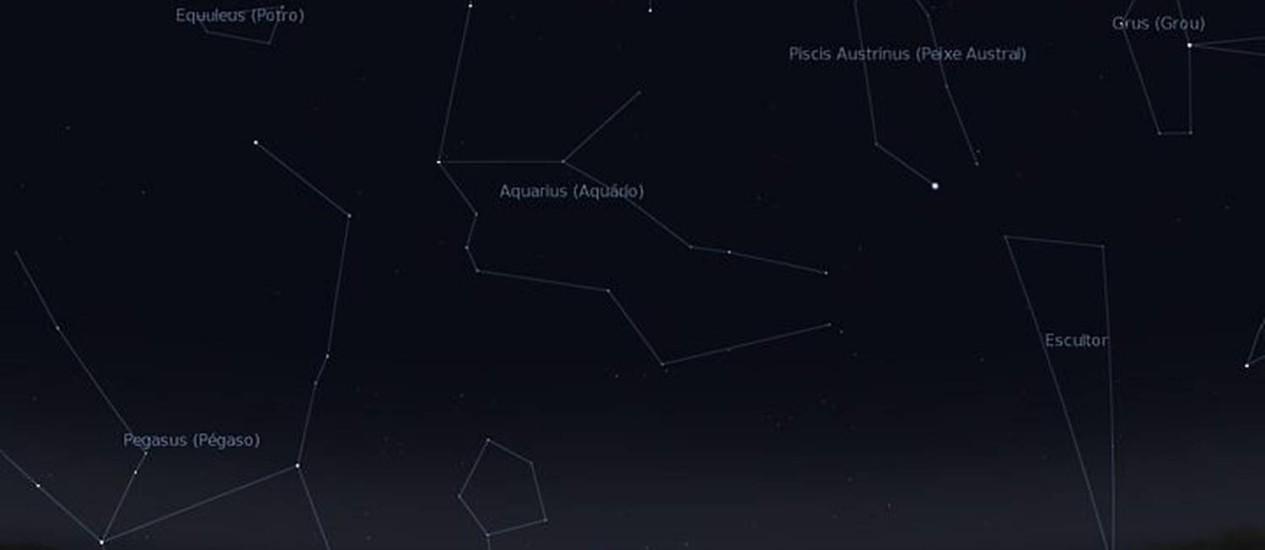 Céu do Rio na madrugada desta sexta-feira, quando a chuva de meteoros Eta Aquarídeos deve atingir seu auge. Imagem: Reprodução Stellarium