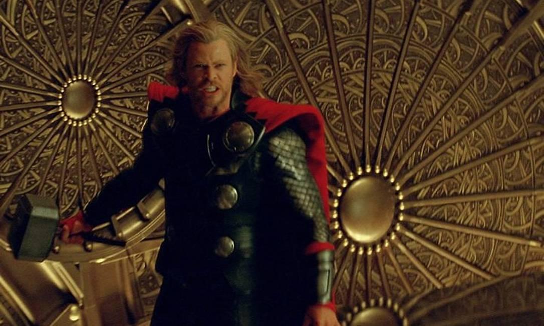 Chris Hemsworth como o personagem Thor. Foto de divulgação